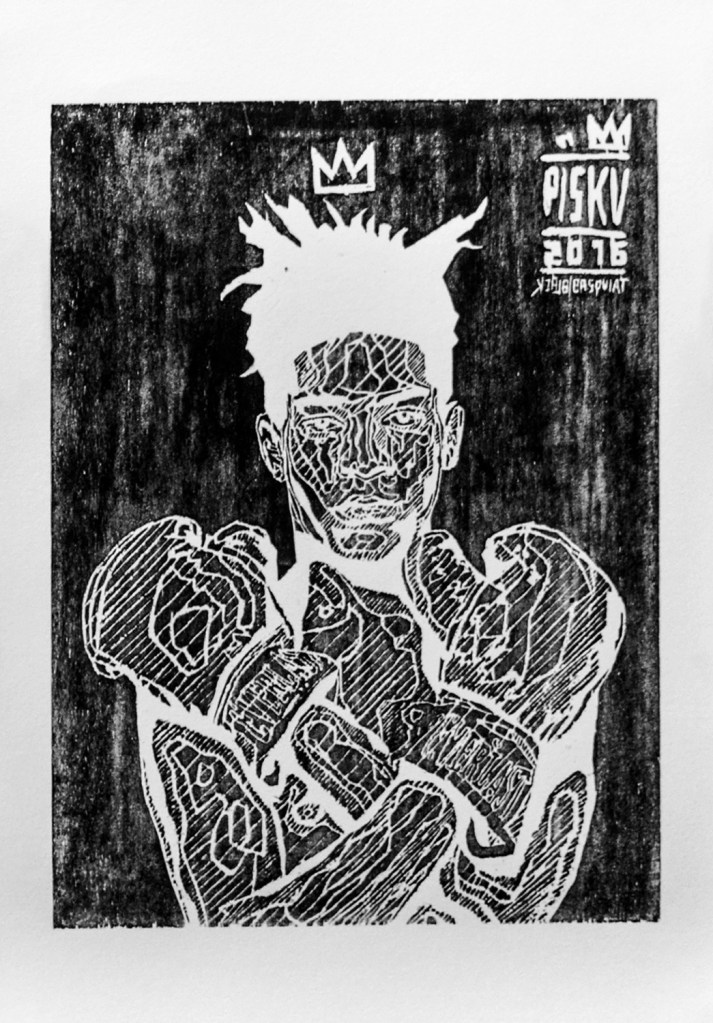 """Black Basquiat"" by piskv_Xilography on Paper_51x36cm_2016"