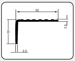 Cantoneira em alumínio para degraus H-800 50x30x2x3000mm