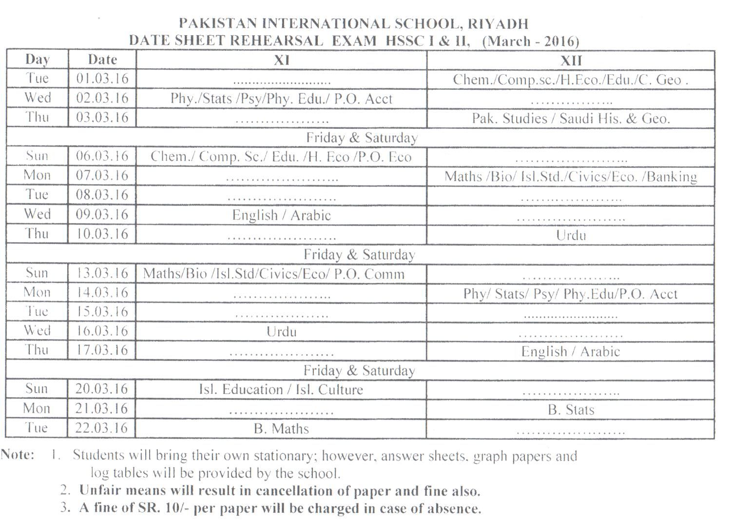 Rehearsal 2nd Semester Examination Date Sheet