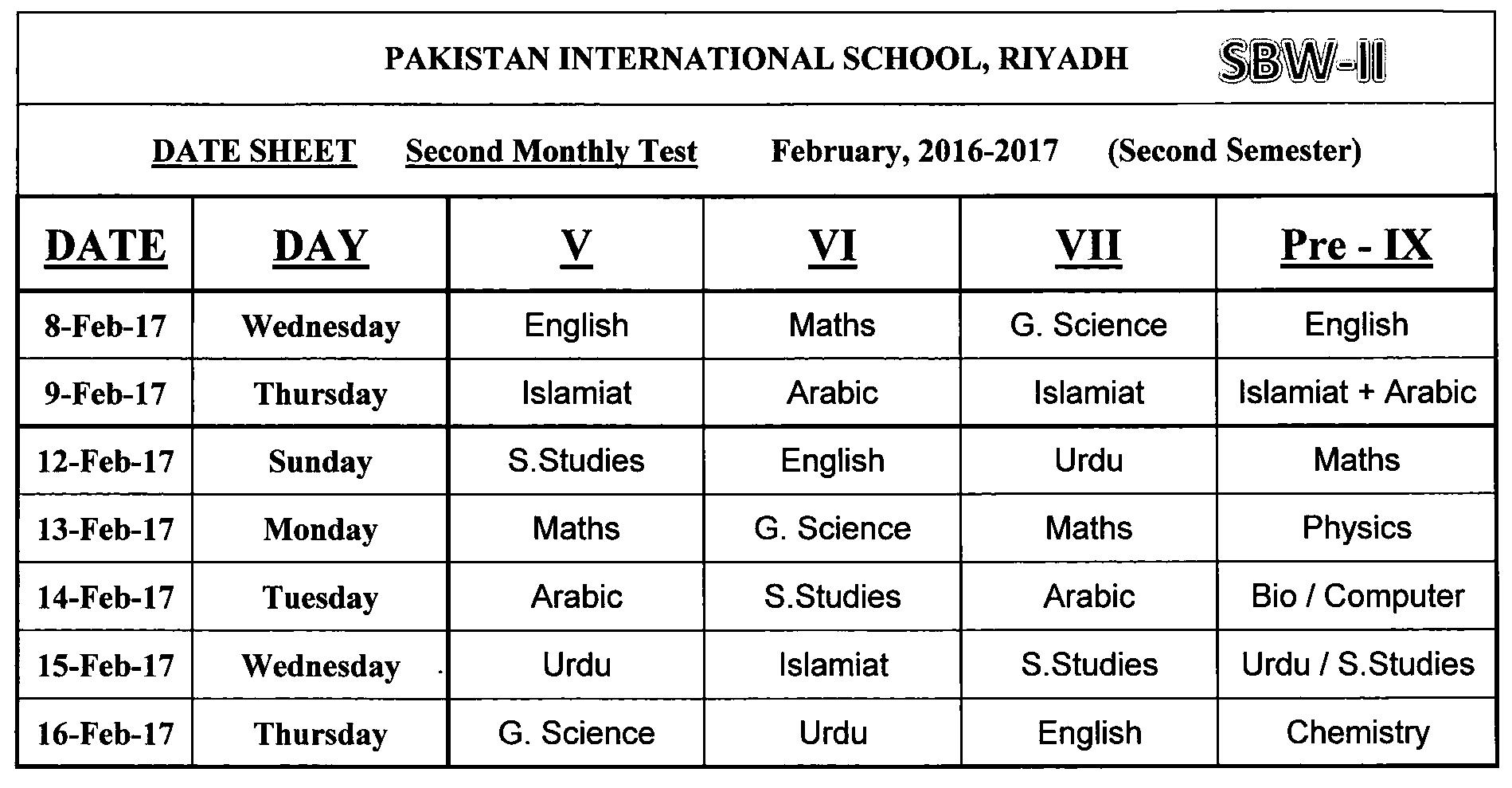 Assessment Schedule February