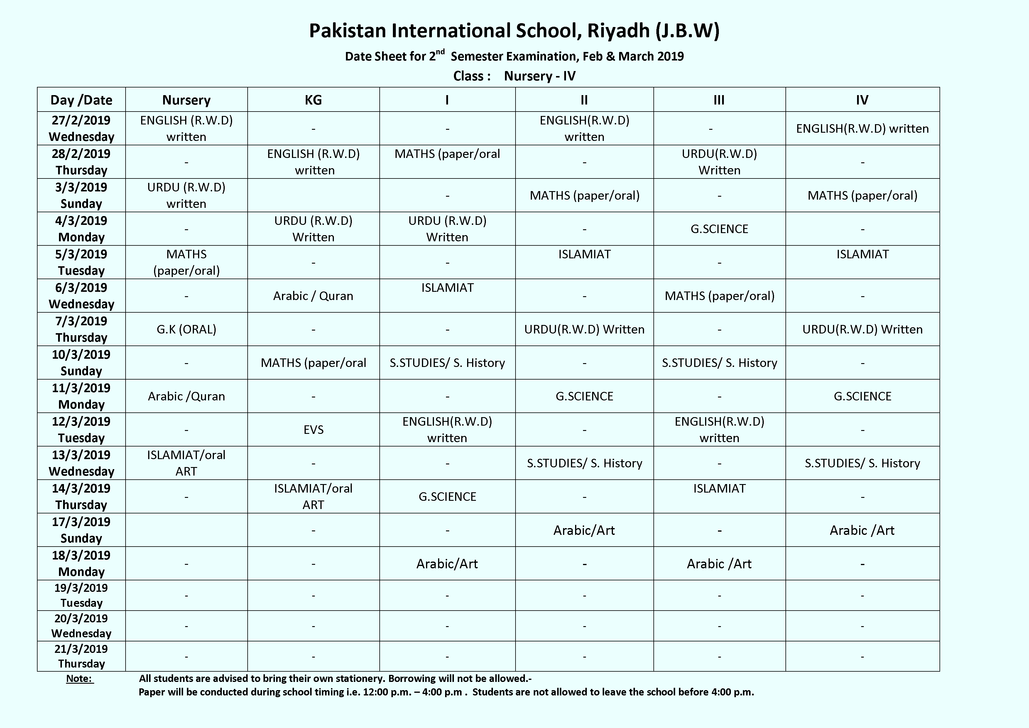 Date Sheet For 2nd Semester Examination 19