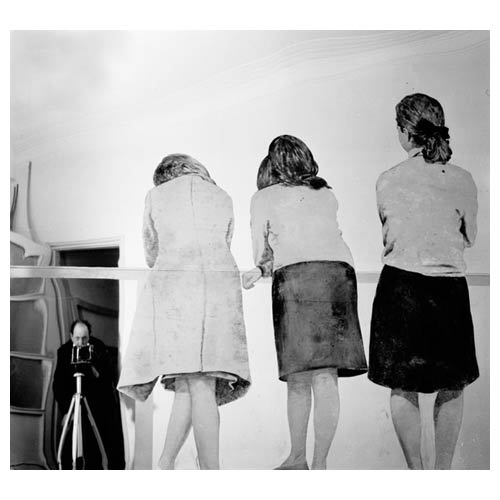 'Three Girls on a Balcony,' 1962-1964, painted tissue paper on polished stainless steel, cm 200 x 200