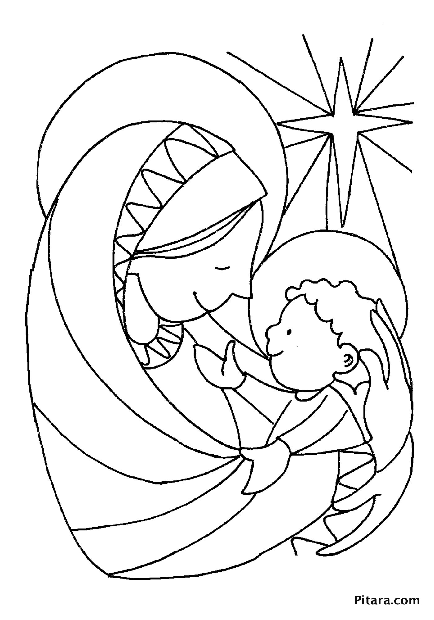 Mary & baby Jesus – Coloring page