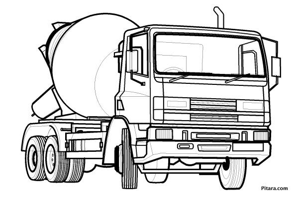 Concrete mixer truck – Coloring page