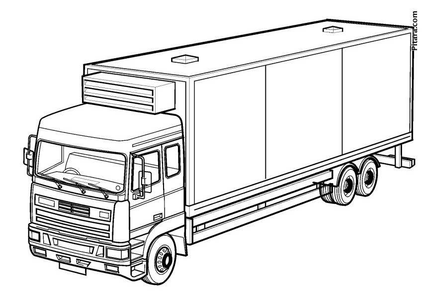 Container truck – Coloring page