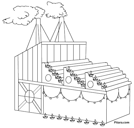 Diwali lights on factory – Coloring page