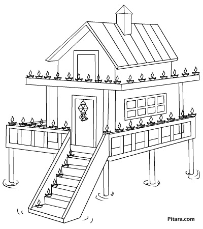 Diwali lights on home – Coloring page