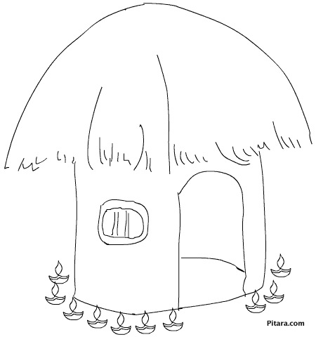 Hut with Diwali lights – Coloring page