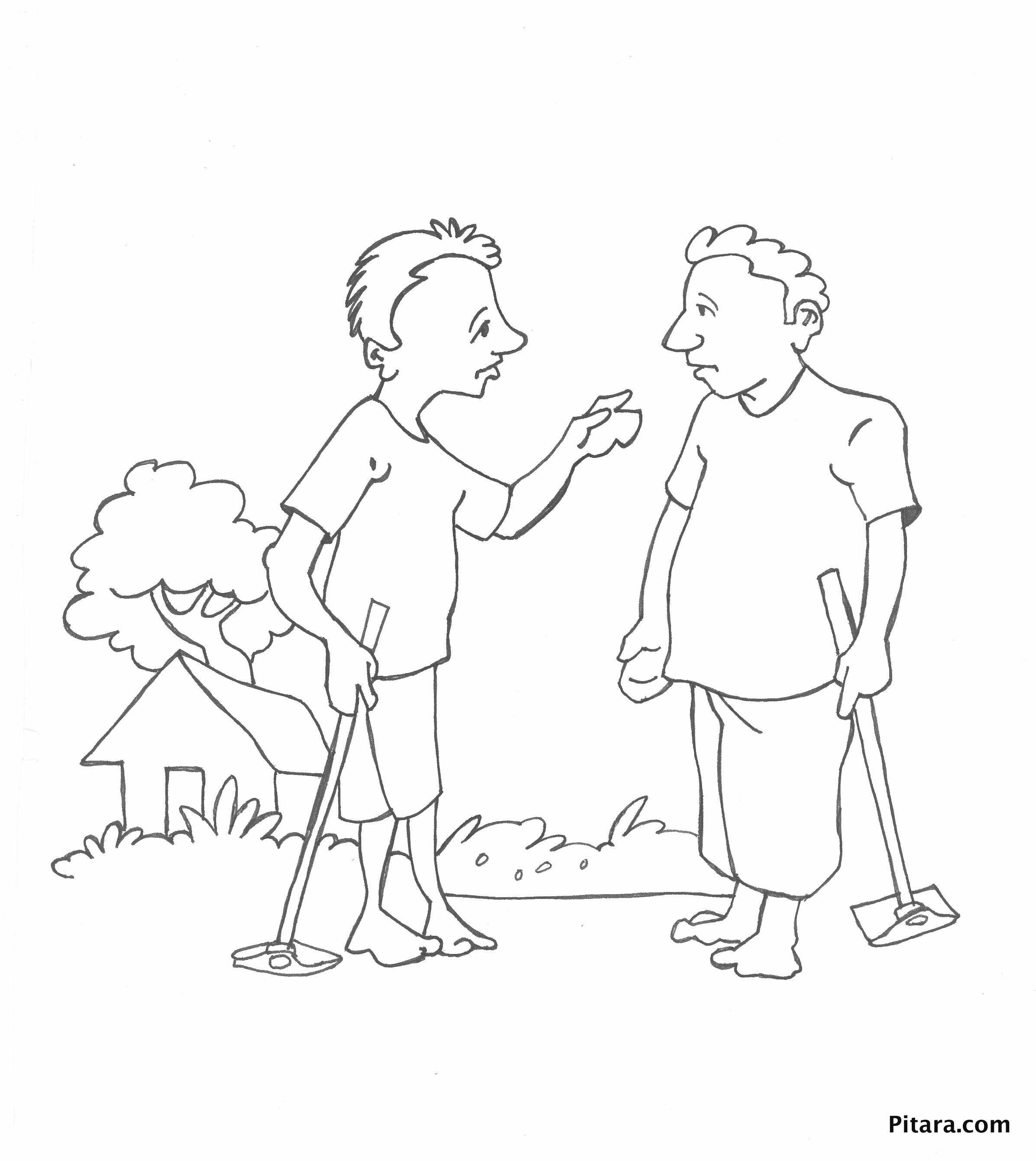 Indian farmers – Coloring page