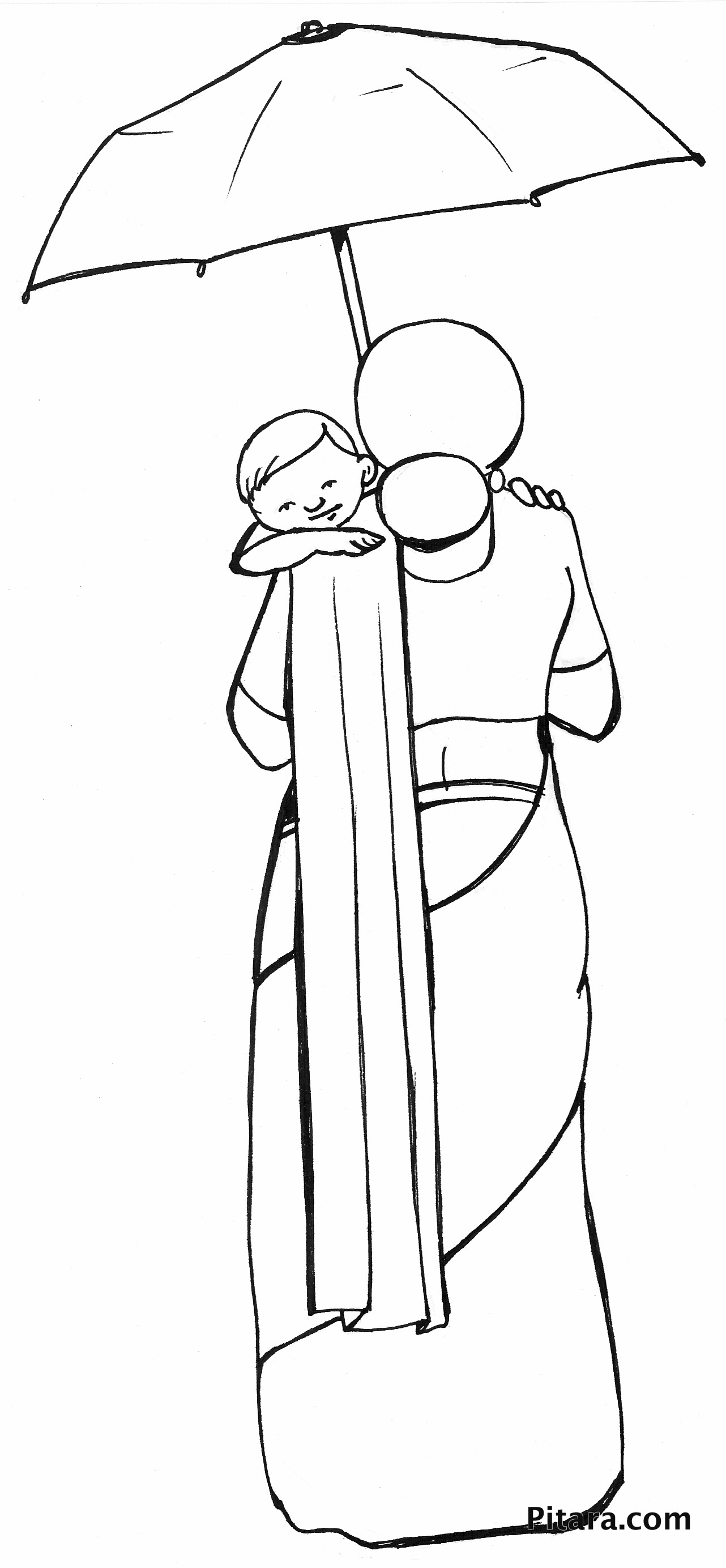 Mother & child – Coloring page