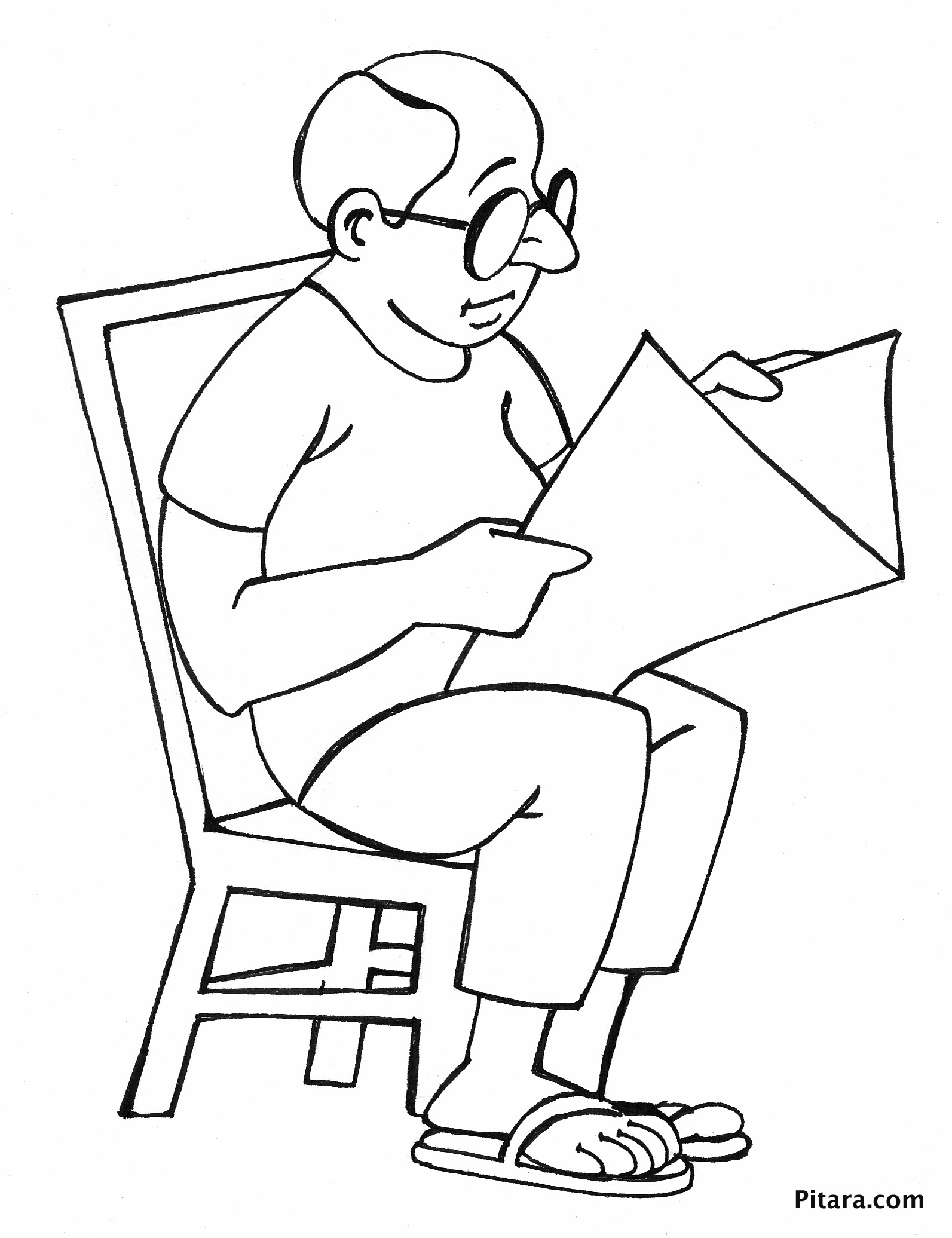 Reading newspaper – Coloring page