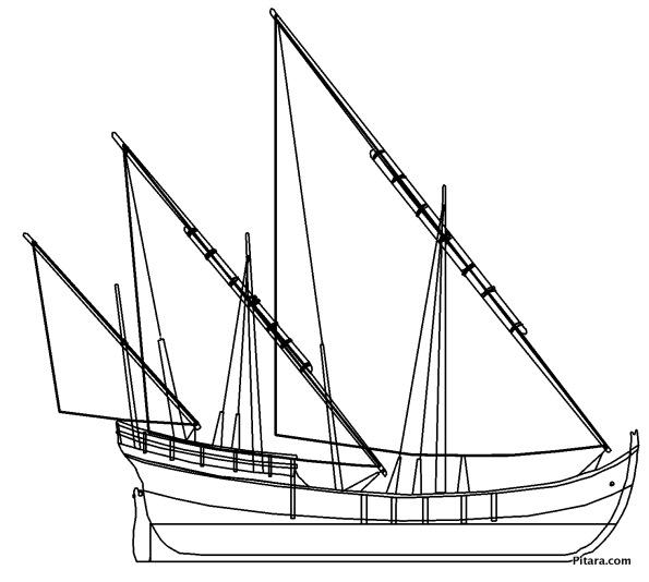 Sail boat – Coloring page