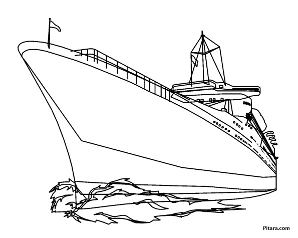 Modern ship – Coloring page