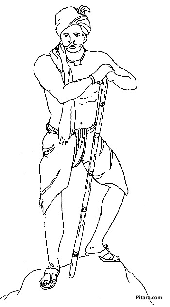 Farmer in dhoti – Coloring page