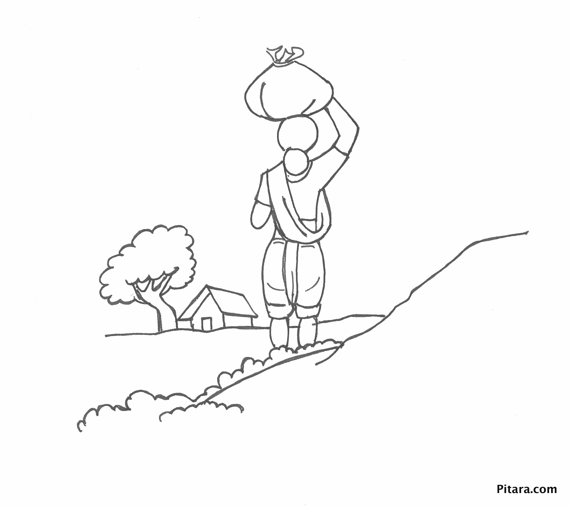 Woman carrying load – Coloring page