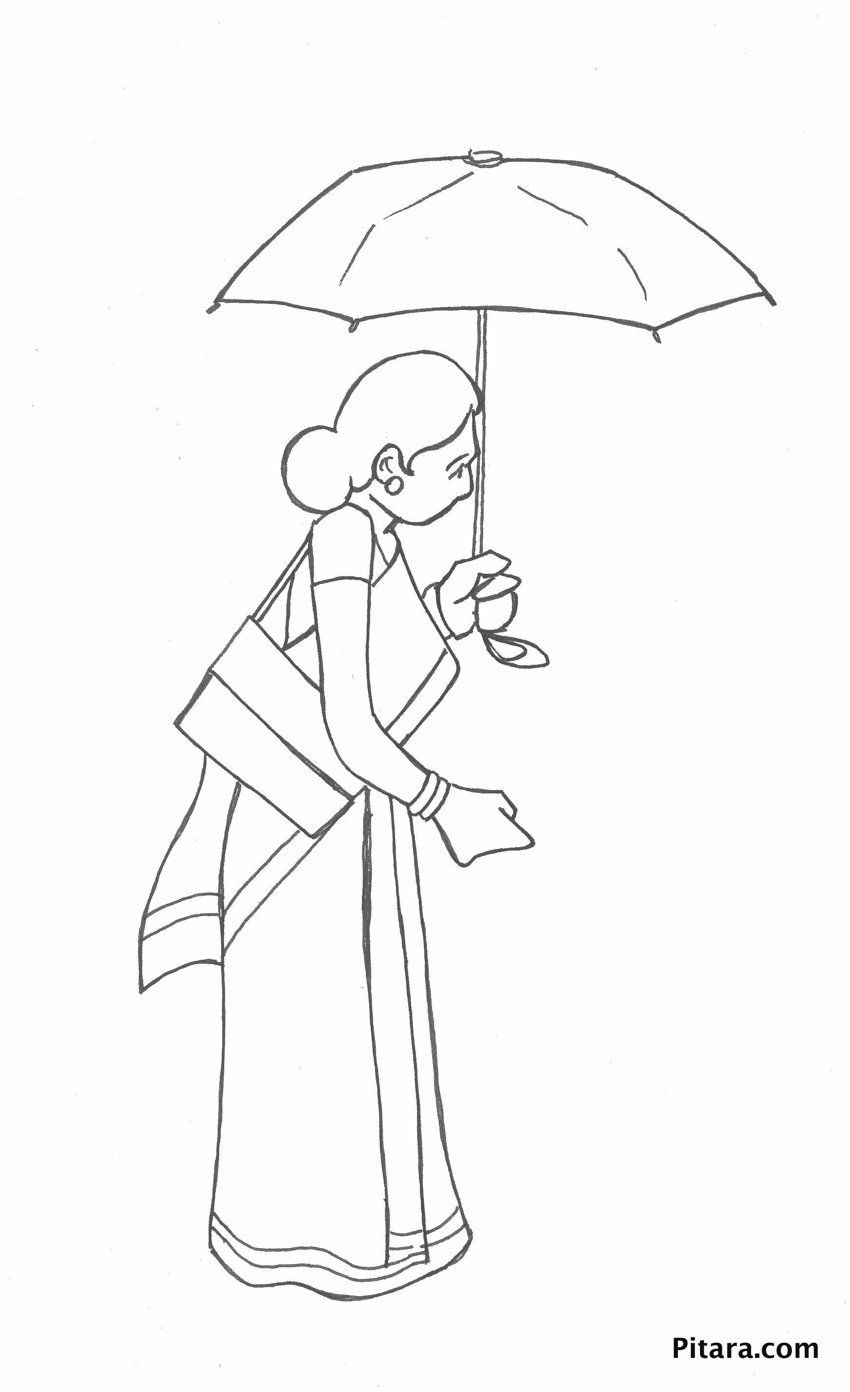 Woman with umbrella – Coloring page