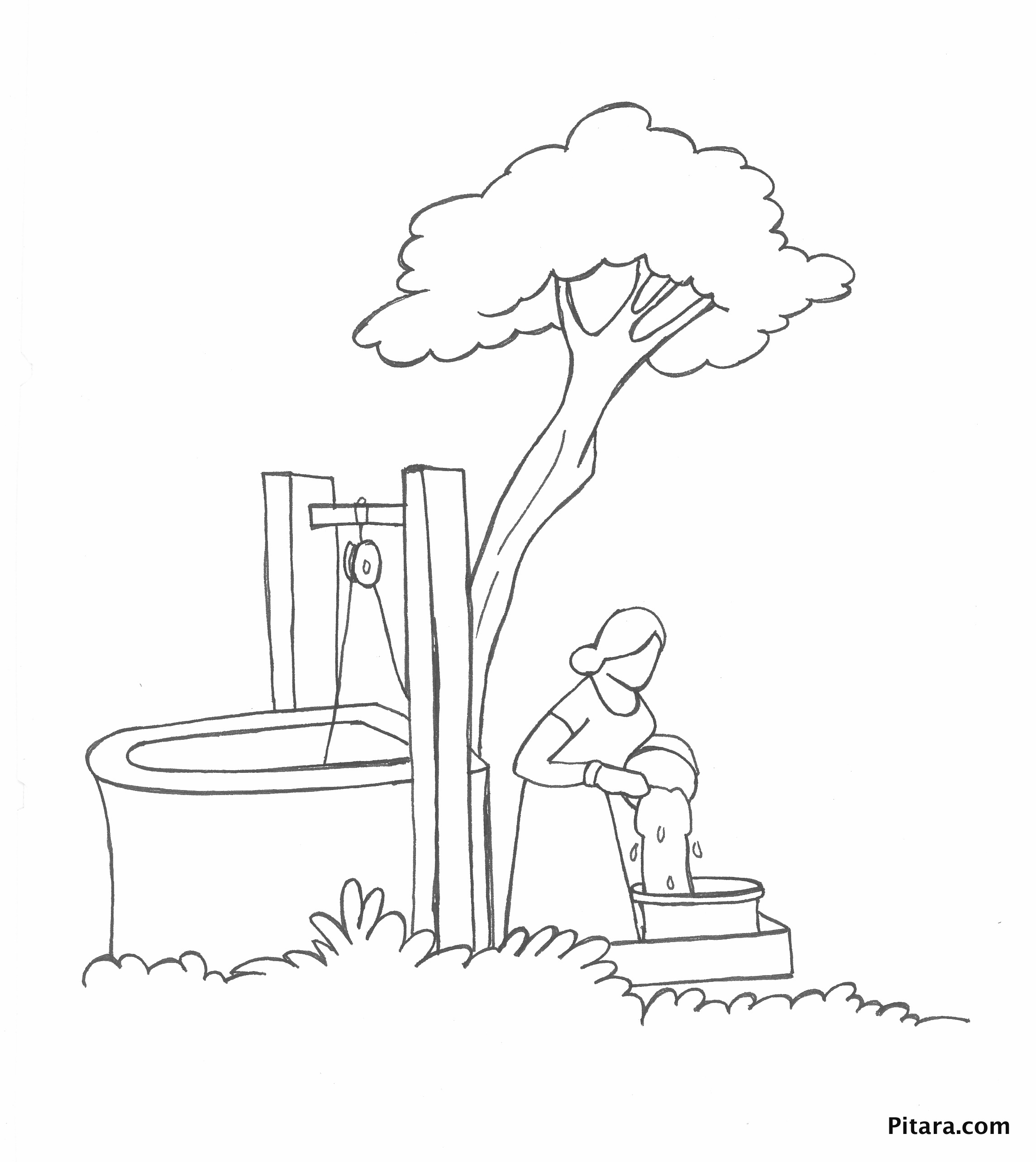 Drawing water from well – Coloring page