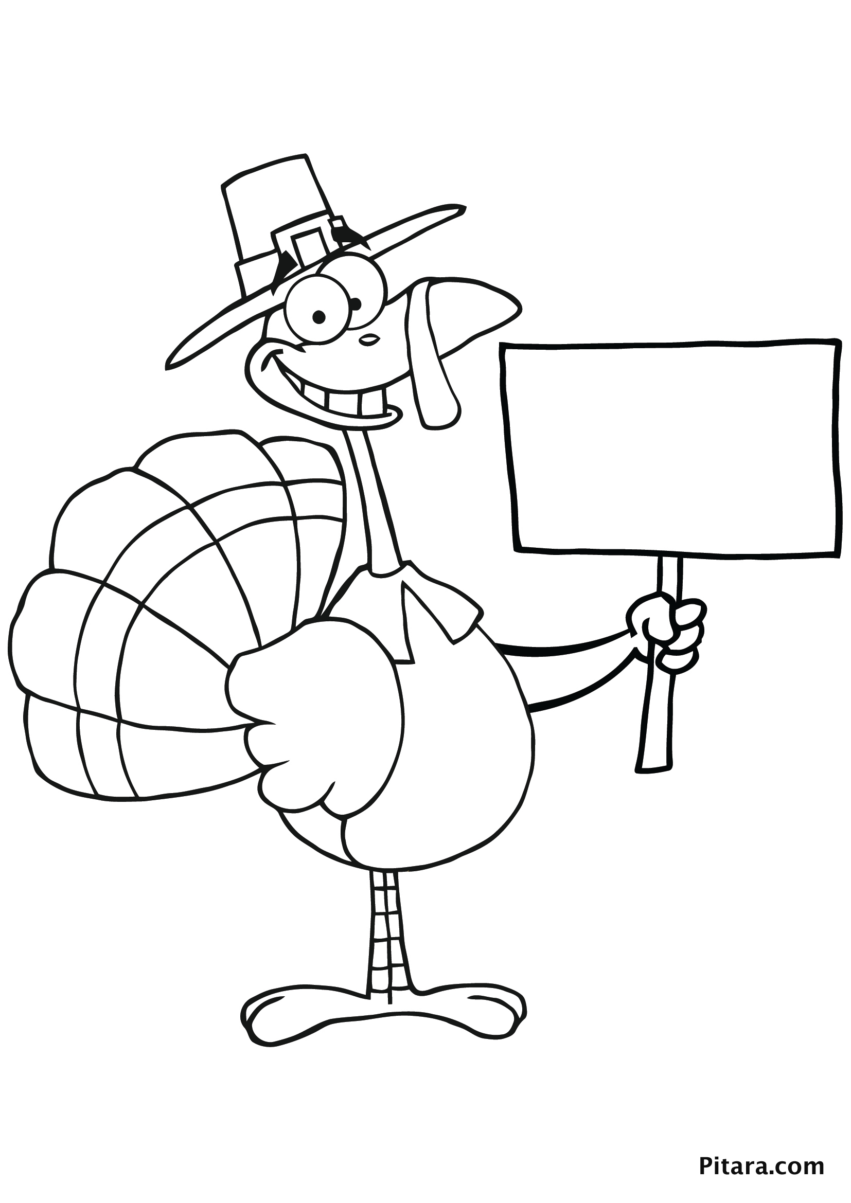 Hitchhiker Turkey Colouring page for kids
