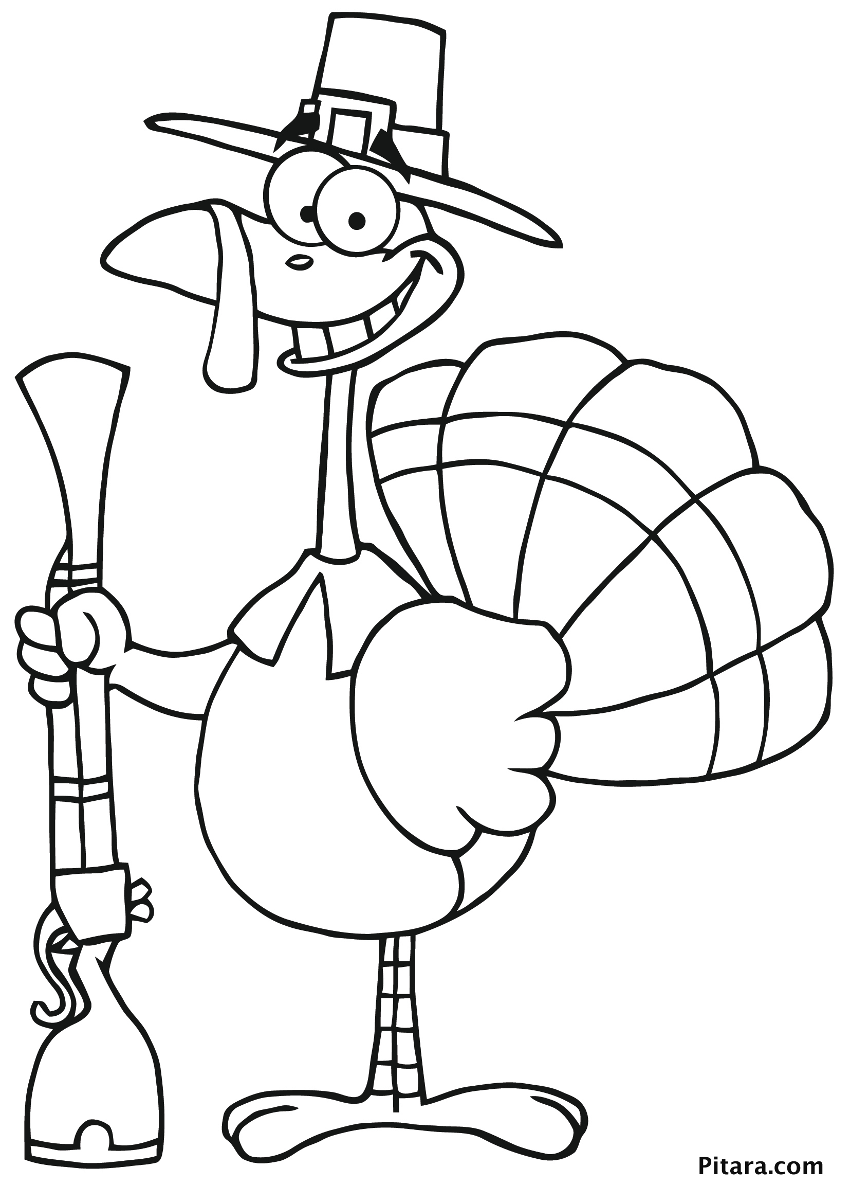 Hunter Turkey Colouring Page for Kids