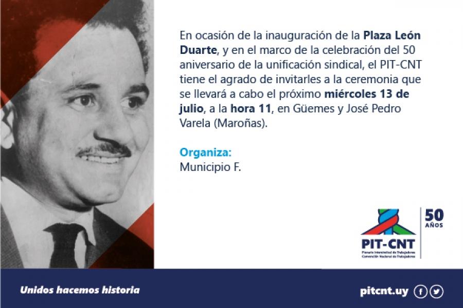 El miércoles se inaugura plaza León Duarte
