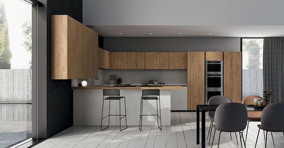 Cucina moderna di design con penisola e cassetti senza
