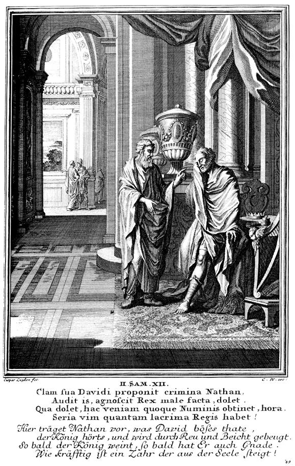 Nathan rebukes David for his adultery