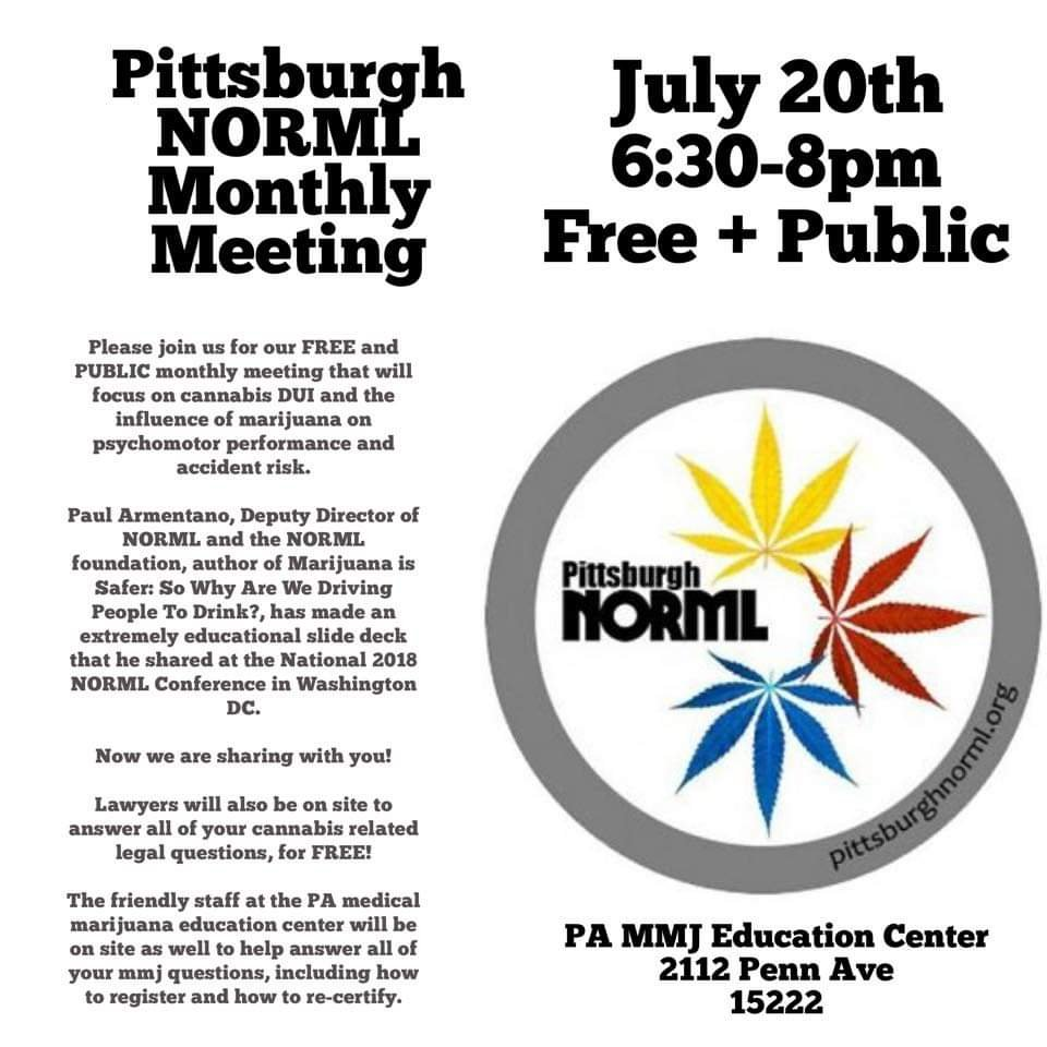 Pittsburgh Norml monthly meeting July 20th 2019 | Pittsburgh