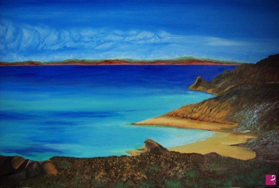 Pittura a olio su tela scogliera paesaggio di mare Marine