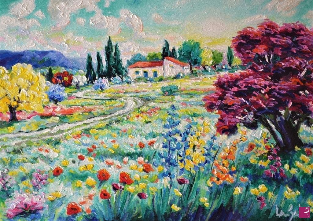 Vendita quadro  paesaggio in fiore  Michele La Sala