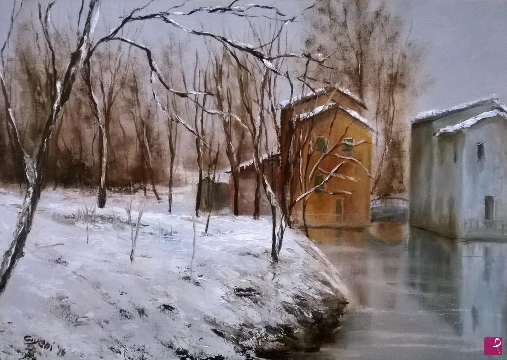 Vendita quadro  paesaggio invernale  Gabriele Civeni