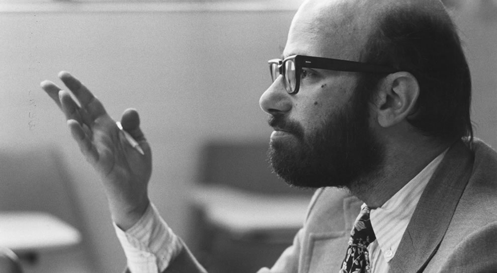 Allen Greenberger, professor of history, in the classroom in 1977.