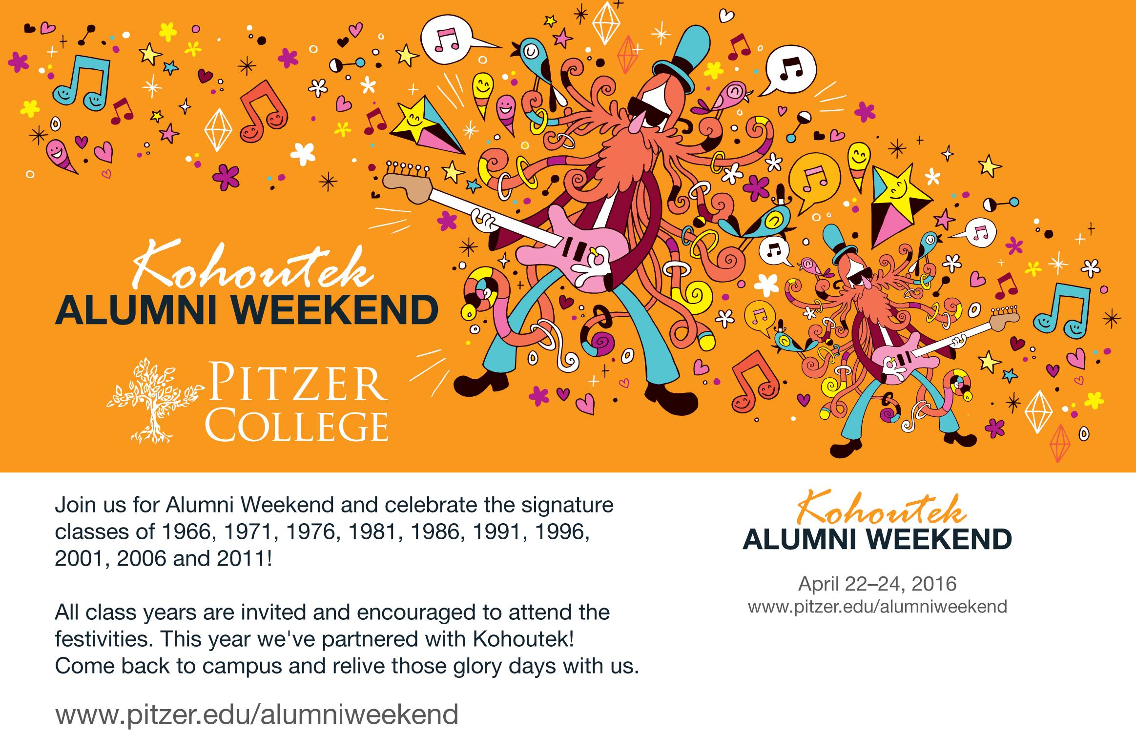 2016 Invitation to Alumni Weekend which took place the same weekend as Kohoutek.