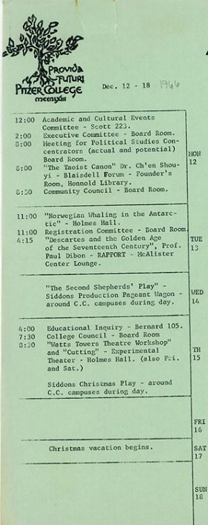Pitzer College Events Calendar, December 12-18, 1966