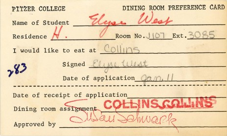 Dining Room Preference Card