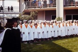 Graduates Line Up in Scott Hall Courtyard, 1968