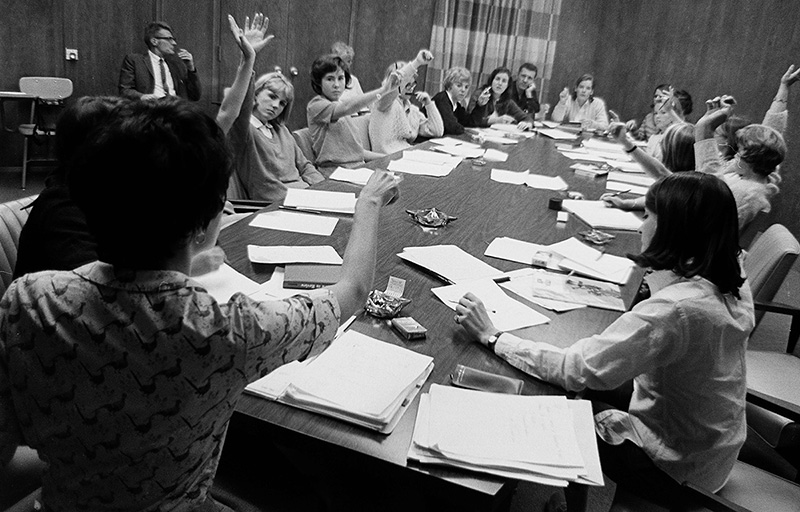 Students Vote at a House Council Meeting, 1965