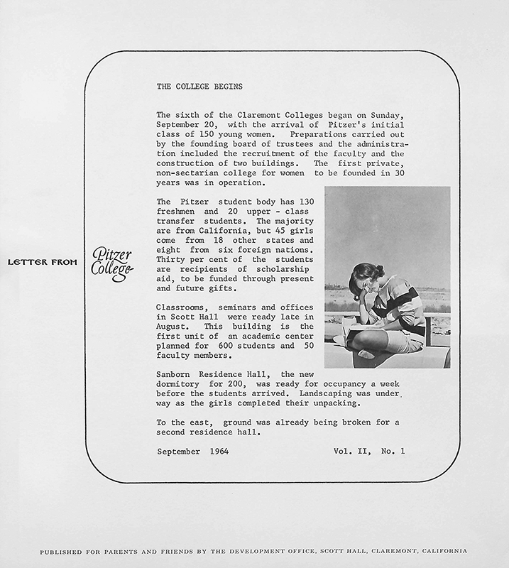 Letter from Pitzer College, Vol. 2, No. 1. September 1964