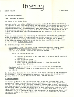 Letter from Dean Charlotte D. Elmott to Pitzer Students, 1966
