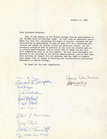 Letter to President Atherton from Pitzer Faculty Regarding Viet Nam Rally, 1965