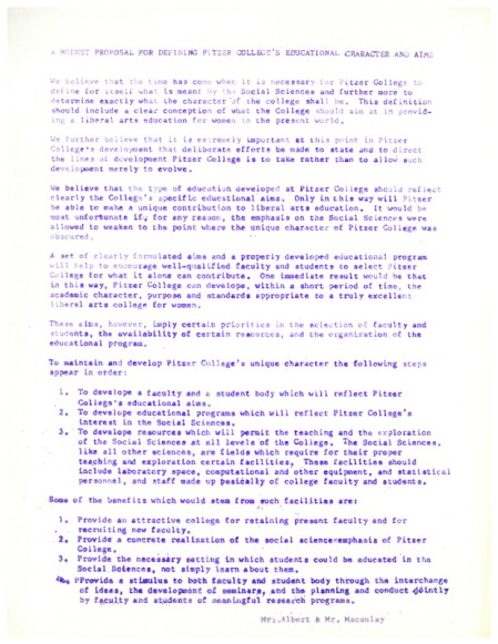 A Modest Proposal for Defining Pitzer College's Educational Character and Aims, 1965