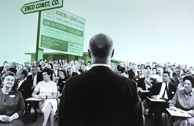 Radical Roots Collage: Atherton in Front of Crowd, 1964; Construction Sign, 1965