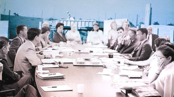 Radical Roots Collage 7: Faculty Meeting, 1965; Construction of Bernard or Fletcher Hall, 1965