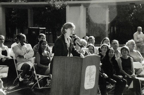 President Trombley Speaking in front of McConnell Center, 2002