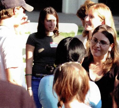 President Trombley amongst Students, 2003
