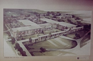 Rendered Perspective Drawing of Sanborn Hall with Covered Walkway, 1964