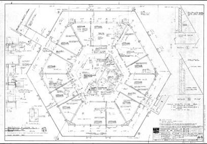 Construction Document: Second Floor Plan of Fletcher Hall, Sheet A-6, February 15, 1965