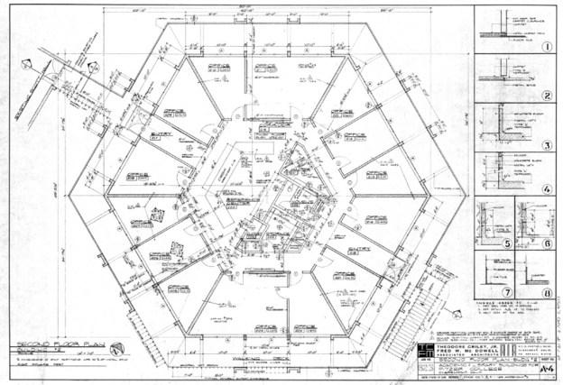 Second Floor Plan of Bernard Hall, Sheet A-4, February 15, 1965