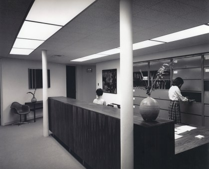 Reception Desk in Bernard Hall, undated