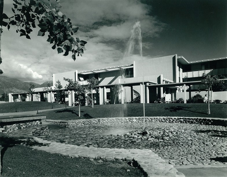 Mead Hall with Fountain in Foreground, undated