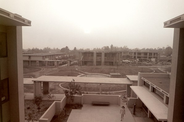 View of Pitzer Campus from Mead Hall Looking across the Mounds at the Construction of Avery Hall, 1969